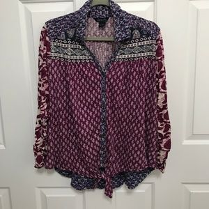 Lucky Brand Pattern Top with Tied Front